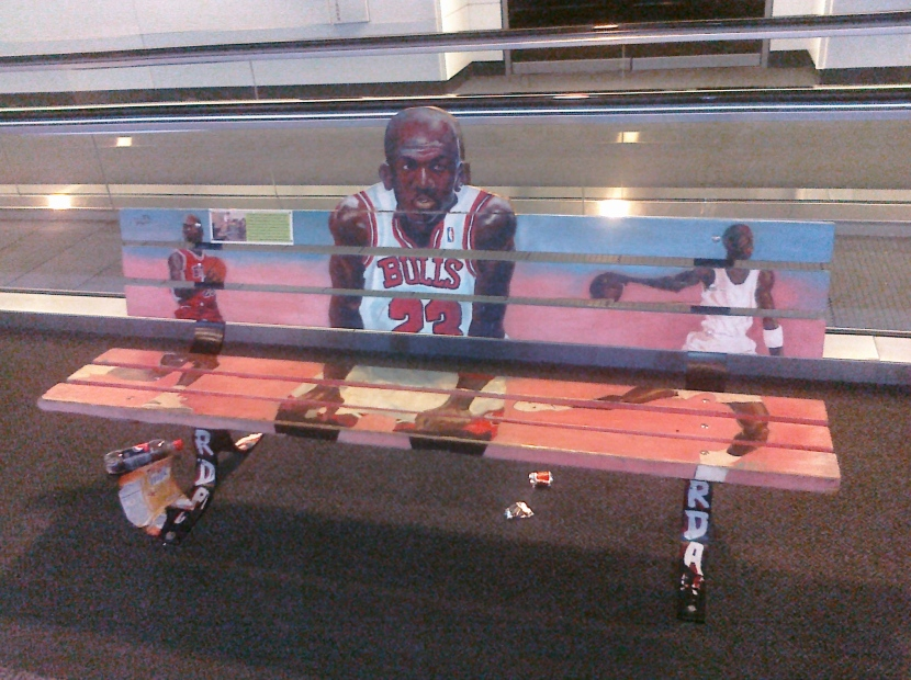 Freaky Michael Jordan bench at ORD