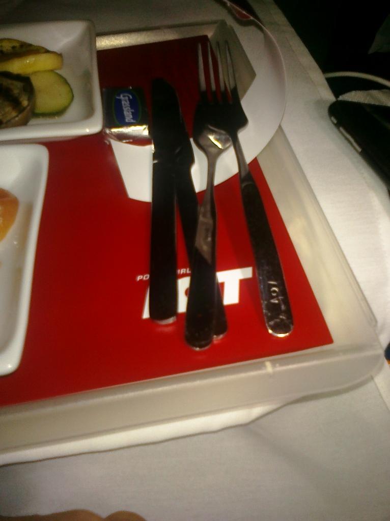 metal silverware on an airplane