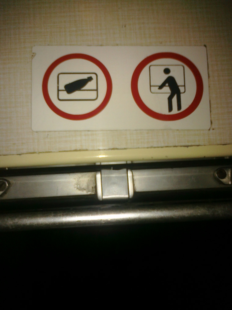 weird sign on train