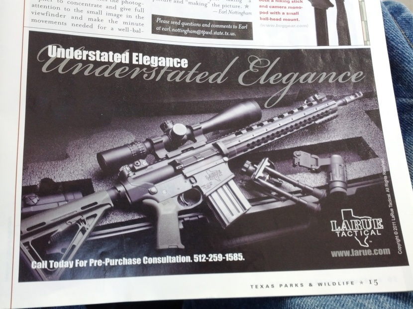 Picture of a big ass gun stating: Understated Elegance