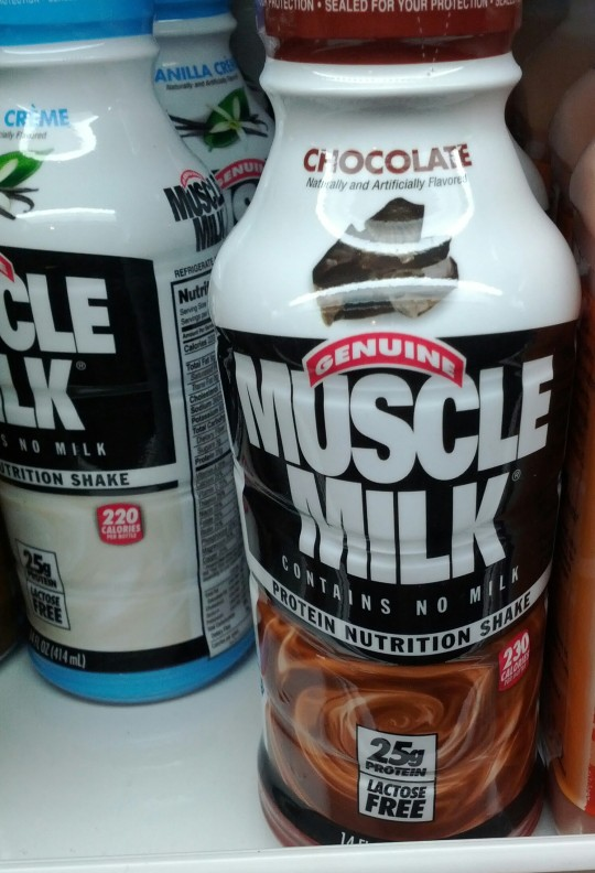 Genuine muscle milk: contain no milk